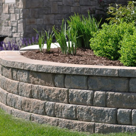 Retaining wall around a garden